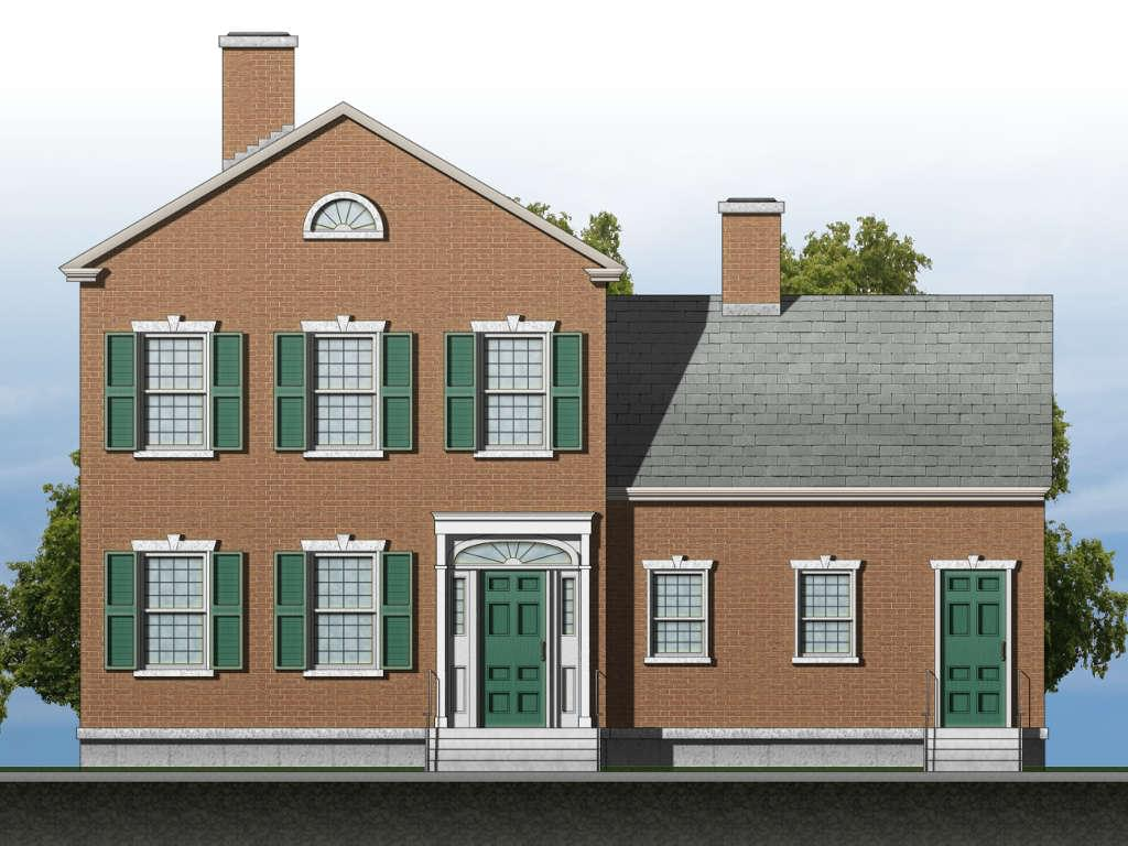 Design for a Federal-style house (AutoCAD and Photoshop)