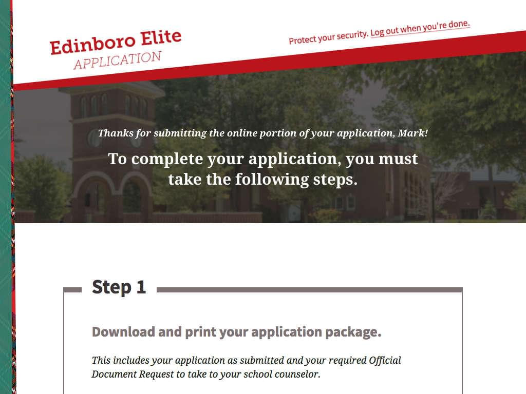 Application completion page